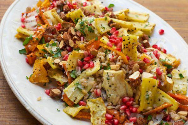 Roast Vegetables, Almond & Pomegranate Salad