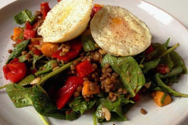 Warm Vegetable, Lentil & Egg Salad